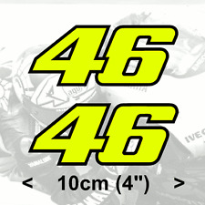 "2 x Valentino Rossi Sticker FLUORESCENT YELLOW 46 vinyl (V2 - 4"" 10cm)"