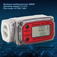"Mini LED Digital Turbine Flow Meters Diesel Fuel Flowmeter 15~120L/min 1""NPT Red"