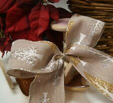 Christmas Luxury Wired Edge Glitter Trees Ribbon * 63mm wide * ByThe Metre