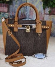 NWT MICHAEL KORS HAMILTON Traveler STUD LARGE TZ TOTE Bag BROWN/ACORN PVC $498