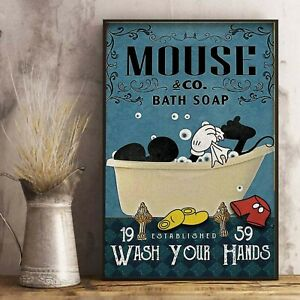 Mouse Co Bath Soap Wash Your Hands  -Funny Animal- Animal Poster - Poster Pirnt