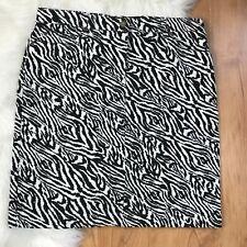 Jones New York Sport Pencil Skirt 12 Black White Animal Print
