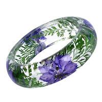 Vintage Style Clear Lucite Plastic Bangle Bracelet Dry Floral Flower Incased