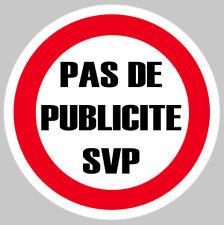 PAS DE PUB PUBLICITE MERCI SVP BOITE A LETTRES 7,5cm AUTOCOLLANT STICKER PA077