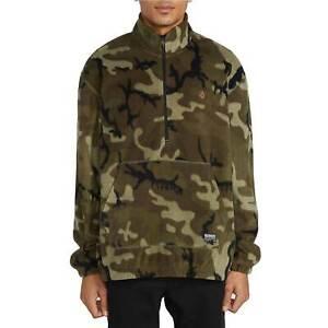 Volcom M Atavic 1/4 Zip Fleece Mens Pullover Jacket Stand Collar Camoflauge