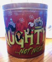Disney Popcorn Bucket Holiday Tin Villains Maleficent Ursula Hook 3 Flavor 21oz