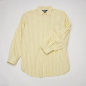POLO RALPH LAUREN Philip Button Front Dress Shirt Yellow Striped Mens 17-34/35