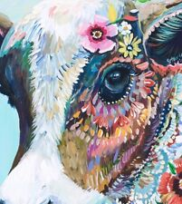 """Cow Colourful Animal wall art printed on canvas 16'' X 16"""" solid frame"""