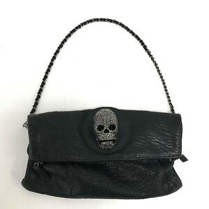 Thomas Wylde Leather Shoulder/Clutch Bag Black Diamante Skull Front Small 161080