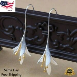 Gorgeous Flower Drop Earrings for Women 925 Silver Jewelry Gift A Pair/set