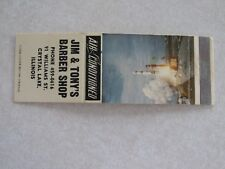 i515 Vintage Matchbook Cover Jim & Tonys Barber Shop Crystal Lake IL Illinois