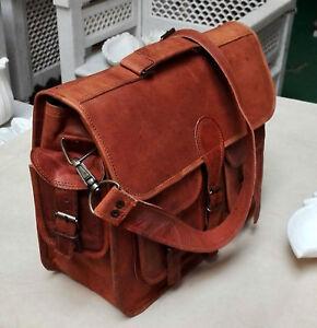 """17"""" Leather Bag Vintage Laptop Business Shoulder Briefcase Messenger Bag Satchel"""
