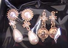 Avon Pearlesque Earring Set (3 Sets of Earrings) Goldtone With Faux Stones!