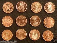 Europe Euro Coins 1 Cent of 12 Countries AU-UNC