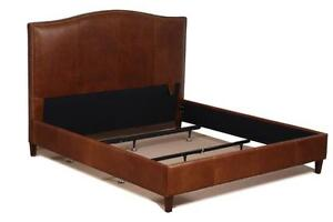 Queen Size Leather Bed in Tobacco Brown, Genuine Leather w/ Brass Nail Head Trim