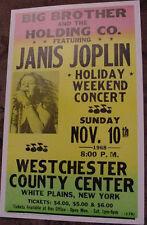 JANIS JOPLIN 1968 CONCERT POSTER 60'S n.y. art janus Westchester County New York
