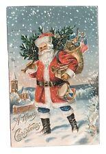 Vintage Christmas Postcard - Santa w/Christmas Tree, Toys & Flag 1908
