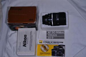 Nikon DC-NIKKOR 105mm f/2 D RF AF M/A Lens Excellent Condition USA