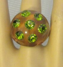 70s vtg mod French clear LUCITE & RHINESTONE DOMED BUBBLE RING sz 6.5 plastic