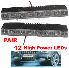 Pair 2X 12 Volt Car DRL 12 White LED Day Front Fog Lamps Lights Waterproof 8033