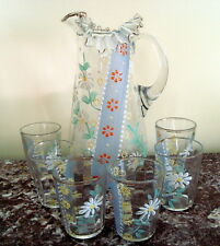 """Vintage RUFFLED 11-1/2"""" PITCHER Hand Painted ENAMEL Daisies & 6 MATCHING GLASSES"""