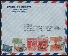 Colombia 1954 Cubierta de correo aéreo Banco de Inglaterra Londres América del Sur Cali 1110