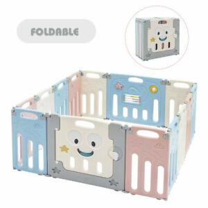Durable 14-Panel Foldable Baby Playpen Kids Activity Centre-Multicolor