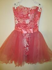 Authentic Sherri Hill Pink Pageant Gown Cocktail Party Dress strapless outfit 12