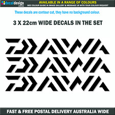 Daiwa Decals 3 PACK premium vinyl stickers to suit fishing boat tackle box #D001