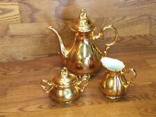 Antique Waldershof Bavaria Germany Handarbeit 3 pc. Gold Tea Set