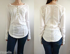 Free People Gold Coast Henley Top Size L Crochet Trim White Alabaster