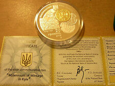 20 UAH Ukraine 2008 Millennium of Mintage in Kiev Silver 62.2g Ag .925 PROOF