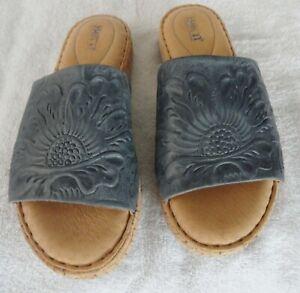 BORN Women's F64804 Gray Leather Slip-On Slides Sandals Size 7 M