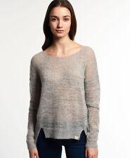 New Womens Superdry Arlo Twist Slouch Sweater Grey Twist
