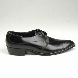 8 Mens Vintage 1960s 60s Black Leather Oxford Lace Up Slim Shoes NOS Deadstock