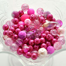 "PRETTY PINK Glass Bead Soup Mix, Crystal, crackle glass  3"" x 4"" bag bgl0889"