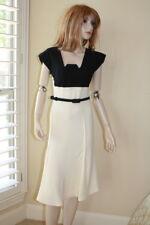 Roland Mouret ivory black Mercy colorblock belt a line stretch crepe dress 8 US