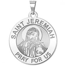 Saint Jeremiah Religious Medal - - 3/4 Inch Size of a Nickel -Sterling Silver