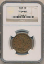 1851 Braided Hair Large Cent, NGC VF30 Brown
