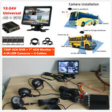 Car School Bus Truck 720P 4CH DVR Video Recorder+7'' HD Monitor+4pcs CCD Cameras