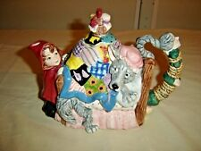 Fitz & Floyd Red Riding Hood Tea Pot shaped like a bed: The Wolf is in bed 9545