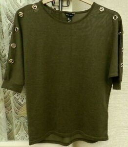 ( Ref 3641 ) New Look - Size S UK 8 10 12 - Green Short Sleeve Round Neck Top