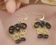 Handcrafted Paper Quill  Blue Eyes Sheep Earrings
