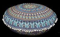 "Indian Mandala Pom Lace Floor Pillow Large Ottoman Pouffe Cushion Bohemian 32"""
