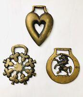 3 Vintage 1970 Brass Horse Harness Medallions~Shamrock~Unicorn~Double Heart