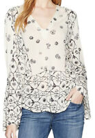NWT Lucky Brand Women's Mix Geo Peasant Top, Color Natural Multi Size S