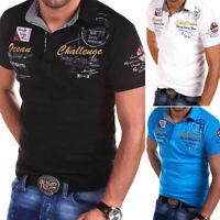 Herren Poloshirt Kontrast Kragen Polo Kurzarm Hemd Polohemd T-Shirt NEU