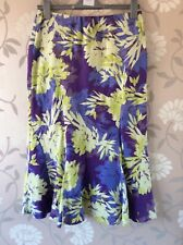 country casuals 10 petite Silk Linen Skirt Lime green Purple