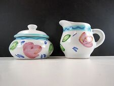 Caleca IMPRESSIONS Covered Sugar and Creamer Hand Painted Made In Italy
