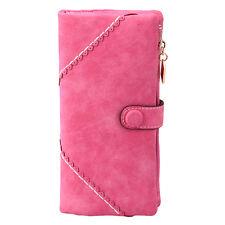 New Fashion Womens Leather Card Wallet Button Clutch Purse Long Card Handbag Zip